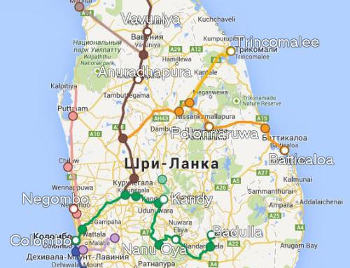 Карта железных дорог Шри-Ланки