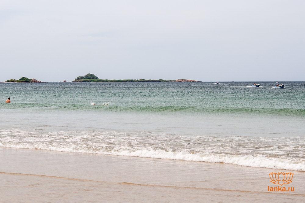 Остров Пиджеон виден с пляжа Нилавели