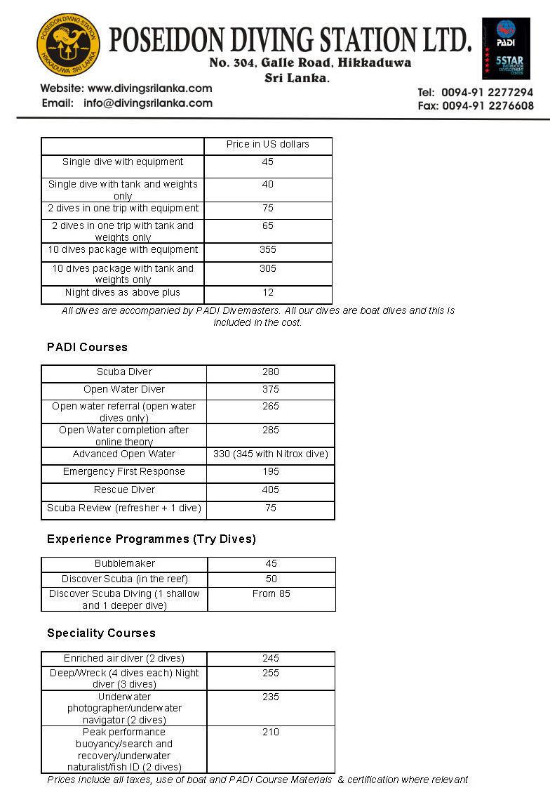 Цены на дайвинг в Хиккадуве